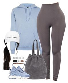 """1345 . Balenciaga"" by cheerstostyle ❤ liked on Polyvore featuring Topshop, NIKE, Maison Margiela, Balenciaga, MAC Cosmetics and Barry M"