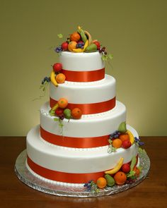 Fruit Wedding Cake. Suitable for a garden/vineyard wedding