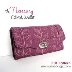 The Necessary Clutch Wallet - Emmaline Sewing Patterns and Purse Supplies - Sew a wallet that holds your iPhone!!