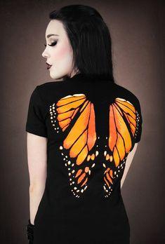Gothic Restyle Damen T-shirt schwarz Schmetterling Flügel