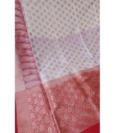 Off White Handloom Banarasi Pure Katan Silk Saree