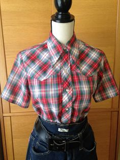 Red Plaid Western Shirt by Maverick with a by EnglishRoseAndThorn