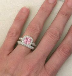PINK DIAMOND ENGAGEMENT RING | Rare 3.91 ctw Cushion Cut Pink Sapphire and Diamond Ring in 14k