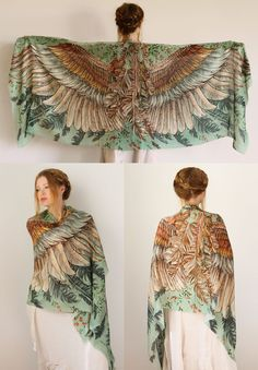 Green Women scarf Hand painted Wings and feathers by Shovava on etsy