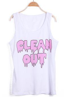 #SheInside White Sleeveless Green CLEAN OUT Print Vest - Sheinside.com