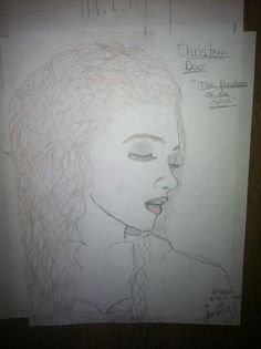 "Jackie Evancho's drawing of Christine Daee from Phantom of the Opera. She says, ""I know it's not great, but trying my hand at drawing."" I'm no art critic, but it looks great to me, Jackie! Your talent seems boundless: first singing classical crossover, then acting, and now art."