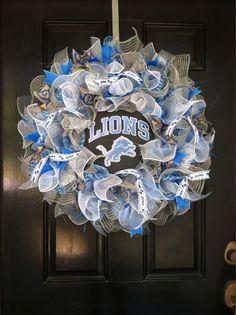 Large Mesh Ribbon Detroit Lions NFL Pro Football Wreath Blue White Silver by DesignTwentyNineSC on Etsy https://www.etsy.com/listing/208297780/large-mesh-ribbon-detroit-lions-nfl-pro