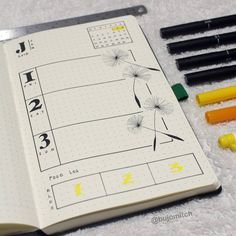 Bullet journal weekly layout, one paged bullet journal weekly layout, dandelion seed drawing. | @bujomitch