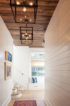 Hall with Shiplap walls and reclaimed shiplap wood ceiling. Hall with Shiplap walls, reclaimed shiplap wood ceiling and industrial lighting Victoria Balson Interiors Stained Shiplap, Shiplap Wood, White Shiplap Wall, Shiplap Ceiling, Wood Ceilings, White Walls, Painted Wood Ceiling, Wood On Ceiling Ideas, Wood Plank Ceiling