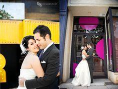 Fun setting, wedding dress  from Circle Park Bridal Boutique.