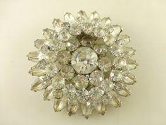 Vintage Juliana D&E DeLizza Elster Layered Crystal Rhinestone Navette Brooch #DeLizzaEsterDEJuliana