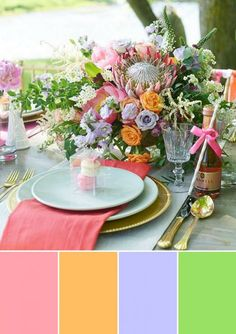 10 paletas de cores para o casamento na primavera - Colour pallette - Wedding Decorations, Table Decorations, Colour Pallette, Designs To Draw, Color Mixing, Wedding Table, Table Settings, Inspiration, Furniture
