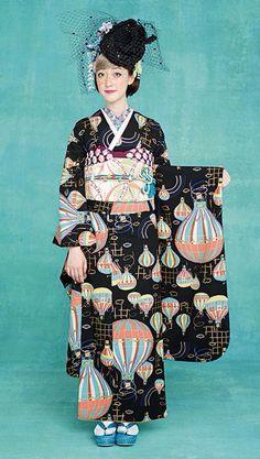 1adc1b42422 気球の旅 Traditional Kimono