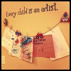 I should make a line like this in the house. My little guy LOVES to draw and he is so talented. I'm going to do this tonight actually. He just drew some nice pictures of me, and a flower I'd like to post. Art Wall Kids, Art For Kids, Crafts For Kids, Arts And Crafts, Wall Art, Kids Corner, Toddler Preschool, Kid Spaces, School Fun
