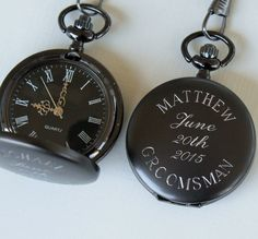 Personalized Gunmetal Pocket Watch by MyPersonalMemories on Etsy Groomsmen Gifts Unique, Wedding Gifts For Groomsmen, Groomsmen Proposal, Gifts For Wedding Party, Groom And Groomsmen, Groomsman Gifts, Groom Attire, Party Gifts, Groomsmen Watches