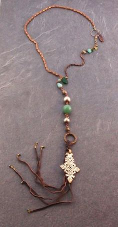 ezebee.com - Amazonite and Ethiopian Silver Cross Necklace by Frida Hultén