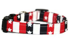 Stars and Stripes Dog Collar by ALeashACollar on Etsy Handmade Dog Collars, Handmade Gifts, Stripes, Belt, Stars, Trending Outfits, Unique Jewelry, Dogs, Accessories