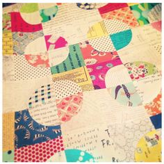 Drunkard's Path quilt by Doreen Agres, love the combination of the typography fabrics!