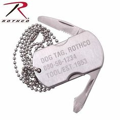 Multi-Tool Dog Tag Survival Tool w/ Screwdriver Knife Bottle Opener Rothco 5269