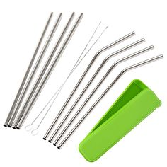 Mudder 8 Pack Stainless Steel Drinking Straws with Cleaning Brushes and Portable Storage Box: Amazon.co.uk: Kitchen & Home