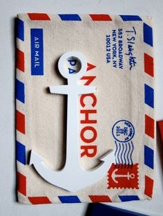 Limited edition steel anchor paperweight supplied in a canvas silk screened Air Mail envelope Airmail Envelopes, Cute Envelopes, Nautical Design, Nautical Fashion, Nautical Wedding, Paper Weights, Coastal Decor, Pretty Flowers, Home Crafts