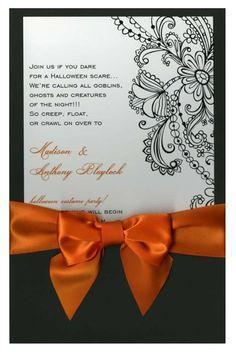 Black Lace Pocket with Orange Bow #lace #pocket #ribbon #bow #skeleton #skull #halloween #fall #autumn #party #event #invite #invitation #invitationbox #design #interesting #pinterest #scary #spooky
