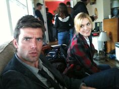 Emily Rose and Lucas Bryant on the set of Haven S3.