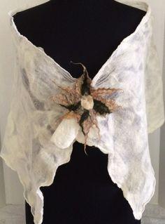 Handmade Silk Scarf Felted Silk Scarf Silk by GracefulEweFiberArts