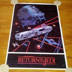 Star Wars ROTJ Return of the Jedi Space Battle Poster Millennium Falcon 1983