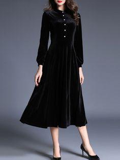 Black Crew Neck Velvet Long Dress -SheIn(abaday)