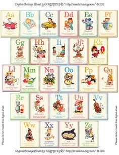 Cute Vintage Style ABC Flashcards In 5x7 Inches Door PinkPaperTrail