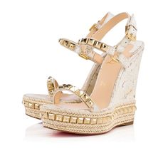 Christian Louboutin Singapore Official Online Boutique - Cataclou 140 White/Light Gold Cork Mat available online. Discover more Women Shoes by Christian Louboutin Louboutin Wedges, Christian Louboutin Sandals, Christian Louboutin So Kate, Strappy Shoes, Leather Wedge Sandals, Wedge Shoes, Wedge Wedding Shoes, Vestidos, Wedges