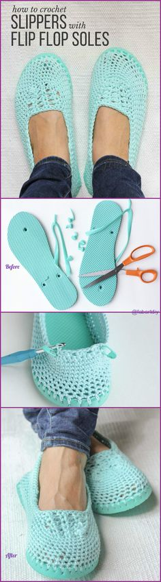 DIY Crochet Slipper with Flip Flop Sole Pattern, What a Great Idea and so easy to make. #Crochet, #Shoe => http://www.fabartdiy.com/diy-crochet-slipper-flip-flop-sole-pattern/