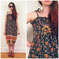 Vintage 1970s Paisley Print Sun Dress / 70s Cotton by BasyaBerkman, $46.00