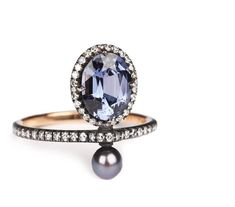 Blue spinel, pearl and diamond ring