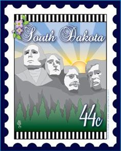 State Stamp Mini Fabric Panel South Dakota By Gabel, Debra  - 6in x 7in fabric panel printed on white 100% Kona Cotton. Sandwich with batting and backing, then quilt.     ***Special Order***