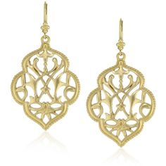 T Tahari Gold Filigree Drop Earrings ($35) ❤ liked on Polyvore featuring jewelry, earrings, earrings jewelry, charm earrings, filigree earrings, t tahari jewelry and gold charms