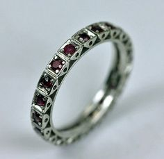 Ruby Eternity Ring 18K White Gold Estate Stackable Eternity Band Ring