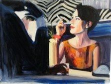 """""""Rachel at the Tiki Bar,"""" painting by Caroline Wampole, from her excellent series of """"Mad Men"""" paintings. Rachel Menken character (played by Maggie Siff) meets Don Draper at the bar -- with zebra-print wallpaper."""