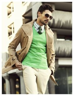 Love the vibrant green sweater.