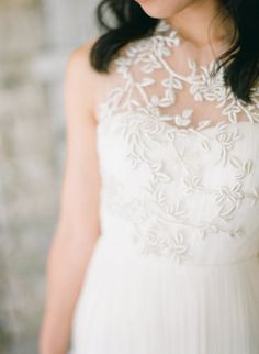 embroidered illusion neckline on this dress from http://www.bhldn.com/ Photography by Laura Ivanova Photography / lauraivanova.com #WeddingDress
