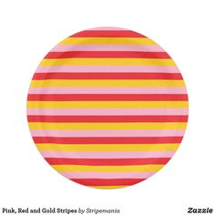 Pink, Red and Gold Stripes Paper Plate