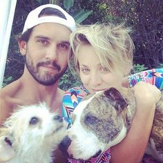 """""""The aftermath!!"""" --Kaley Cuoco, who cuddled with her pups after throwing her hubby a surprise birthday party"""