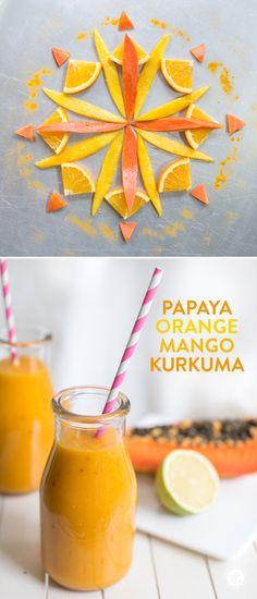 Papaya-Orange-Mango-Kurkuma Smoothie zum sonniger Start in d… Papaya orange mango turmeric smoothie for a sunny start to the day, recipe of festivities. Smoothie Curcuma, Papaya Smoothie, Turmeric Smoothie, Juice Smoothie, Smoothie Drinks, Smoothie Bowl, Detox Drinks, Smoothie Mixer, Mango Smoothie Recipes