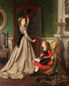 Jan Frederik Pieter Portielje (Dutch, large oil on panel painting, untitled interior scene of woman and girl in Edwardian dress. The woman is pulling a book from a cabinet and the seate… Classic Paintings, Old Paintings, Paintings I Love, Beautiful Paintings, Victorian Paintings, Victorian Art, Woman Reading, Classical Art, Fine Art