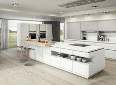 White Modern Kitchen Cabinets Design — Home Design Ideas White Kitchen Cart, White Wood Kitchens, Large Kitchen Island, Kitchen Carts, Modern Kitchens, Modern Kitchen Cabinets, Modern Kitchen Design, Interior Design Kitchen, Traditional Small Kitchens