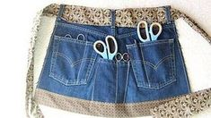 Sewing Tips Helpful Hints Upcycle/recycle old jeans article with links to projects. You probably can't make insulation, but lots of other useful DIY ideas for re-using your jeans from Levi Strauss Diy Jeans, Sewing Jeans, Sewing Aprons, Sewing Clothes, Diy Clothes, Denim Aprons, Jean Crafts, Denim Crafts, Jean Apron