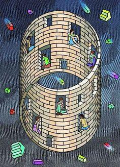 Orosz, Istvan ) - Moebius House (Private Collection) - Escher M Optical Illusion Art Illusion Optical, Cool Optical Illusions, Illusions Mind, Op Art, Escher Kunst, Mc Escher Art, Perspective Forcée, Illusion Paintings, Fractals
