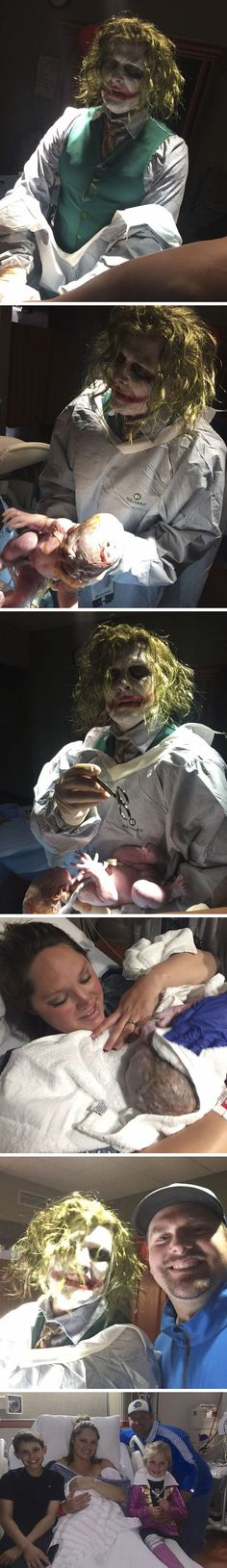 Doctor Dressed as The Joker Delivers a Baby on Halloween