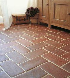 Brick Tile Floor, Brick Flooring, Wall And Floor Tiles, Flooring Tiles, Basement Flooring, Kitchen Wall Tiles, Kitchen Flooring, Terracotta Floor, Fired Earth